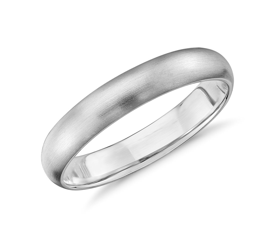 Matte Mid-weight Comfort Fit Wedding Ring in 14k white gold (4mm)