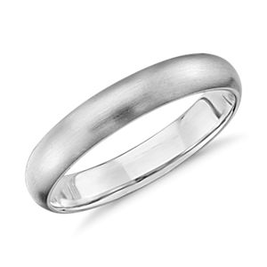 Alliance confort légère mate en or blanc 14 carats (4 mm)