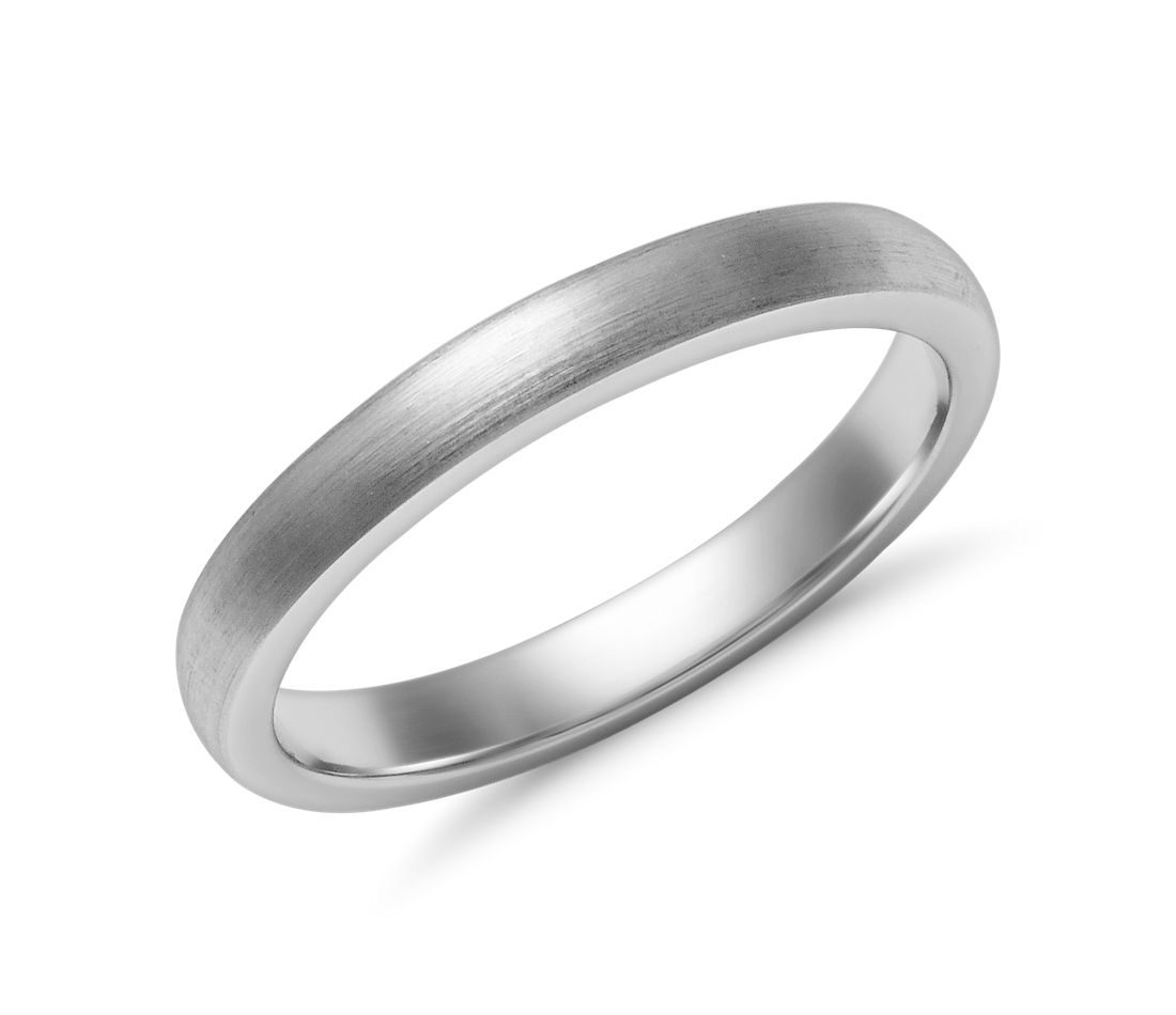 Matte Low Dome Comfort Fit Wedding Ring in 14k White Gold (2.5 mm)