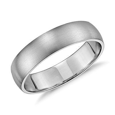 Matte Classic Wedding Ring in 14k White Gold (5 mm)