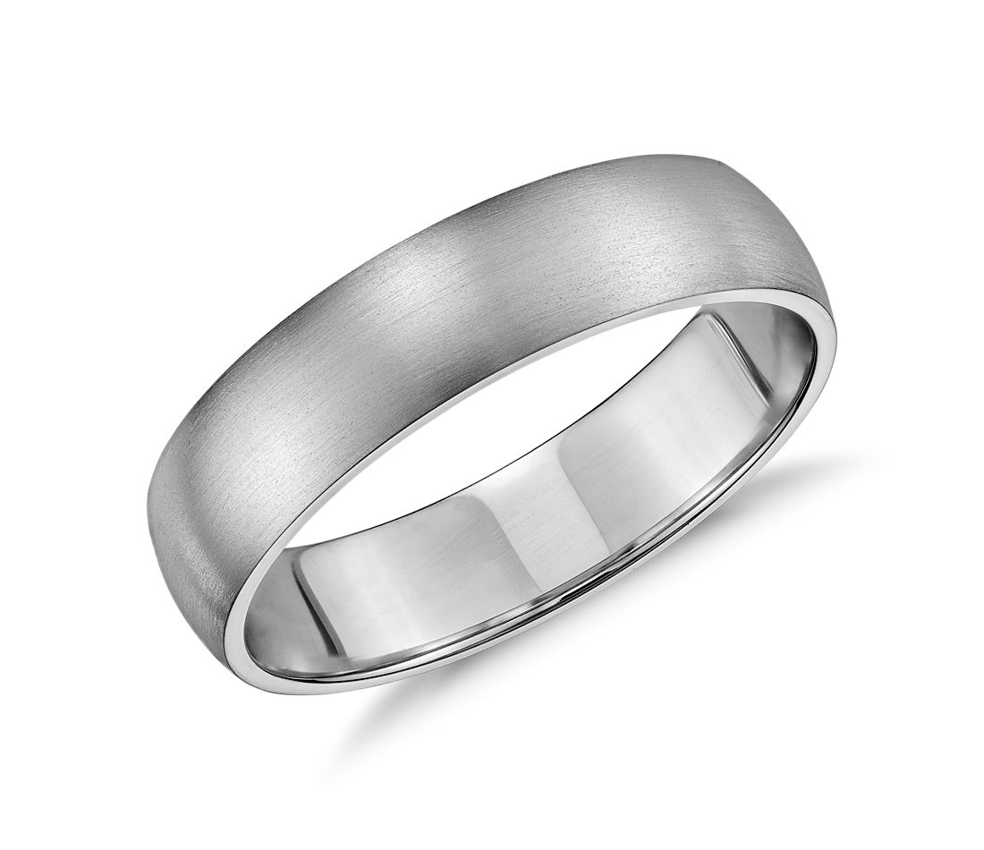 White Gold Bands: Matte Classic Wedding Ring In 14k White Gold (5mm)