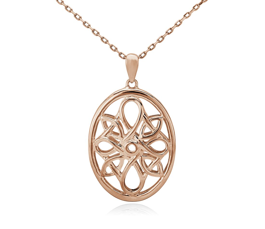 Oval Medallion Necklace in 14k Rose Gold