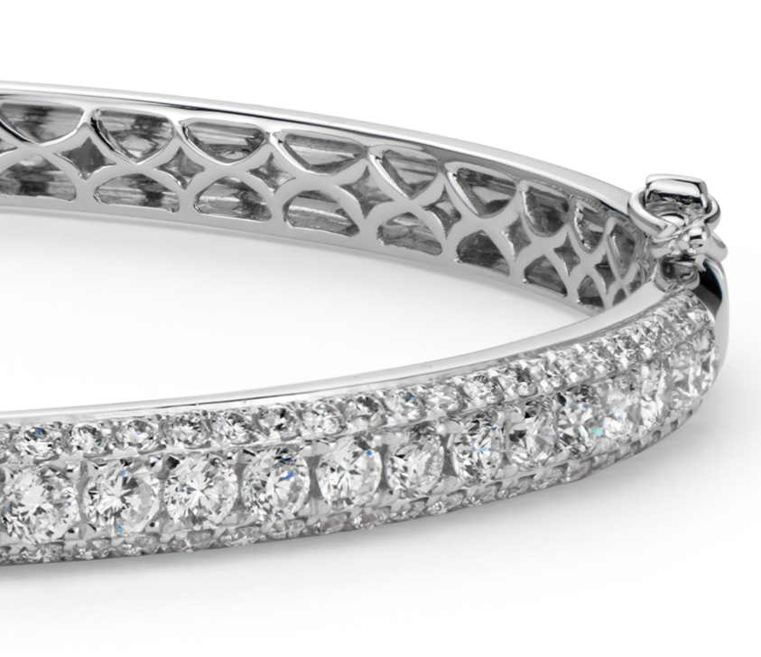 Jonc diamant serti micro-pavé en or blanc 18carats (2,5carats, poids total)