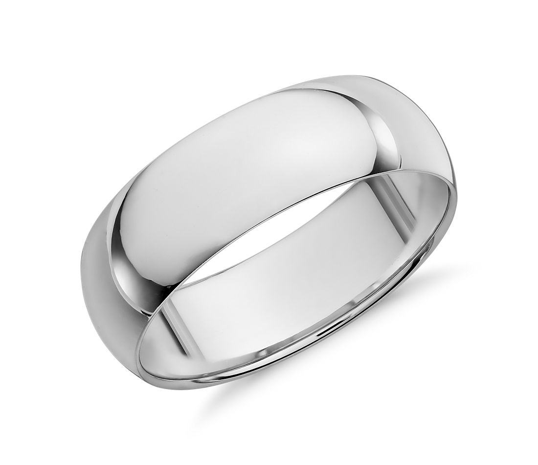 Mid-weight Comfort Fit Wedding Ring in 14k White Gold (7mm)
