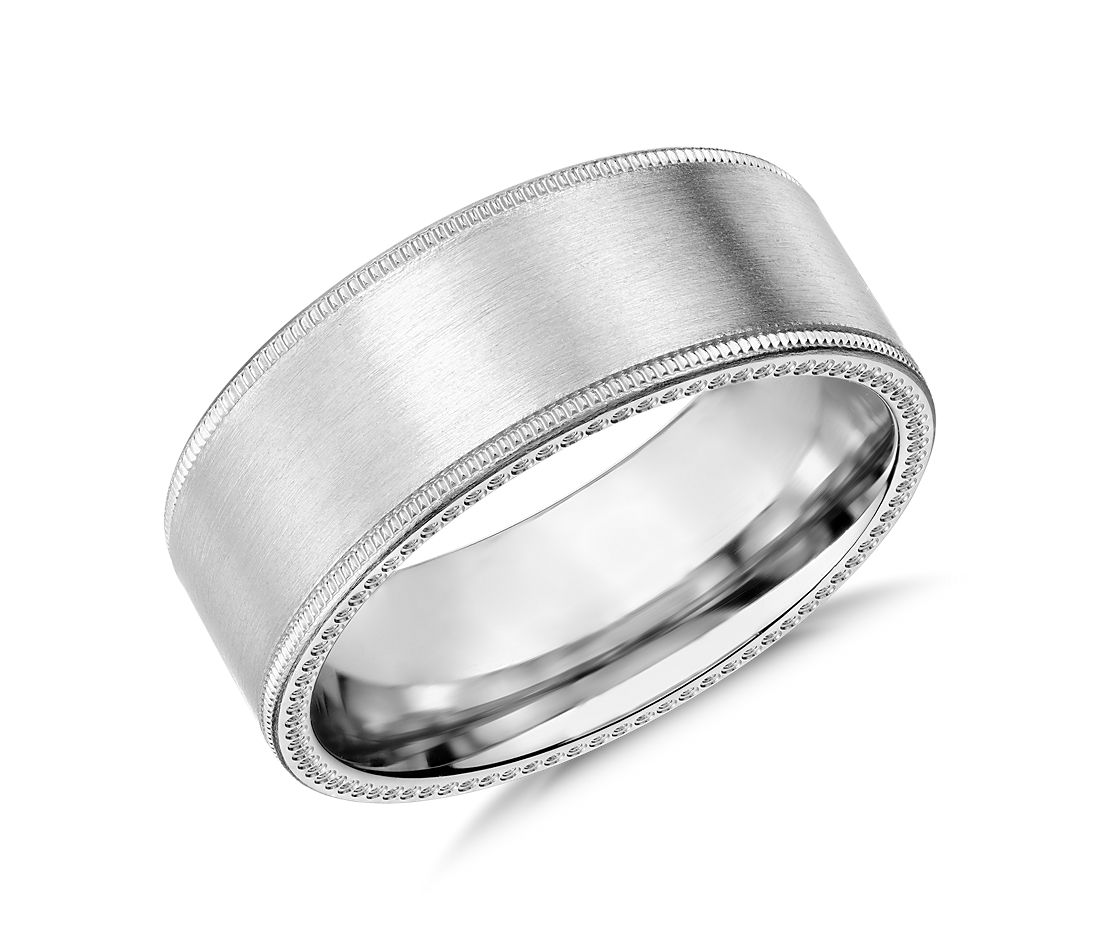 milgrain edge wedding ring in 14k white gold 8mm blue nile With milgrain edge wedding ring