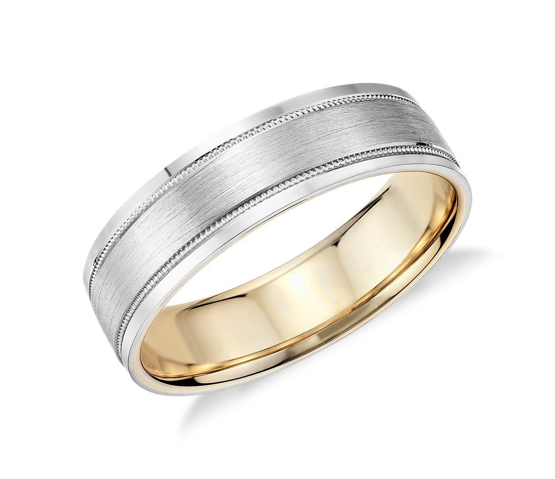 Milgrain Brushed Inlay Wedding Ring In Platinum And 18k Yellow Gold 6mm