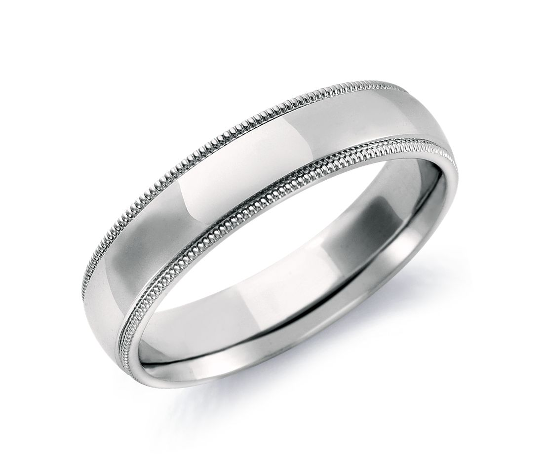 milgrain comfort fit wedding ring in 14k white gold 5mm blue nile