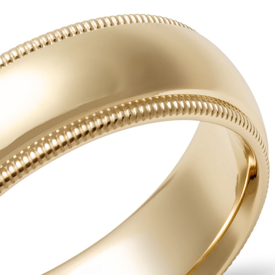 Alliance confort à mille-grains en or jaune 14carats (6mm)
