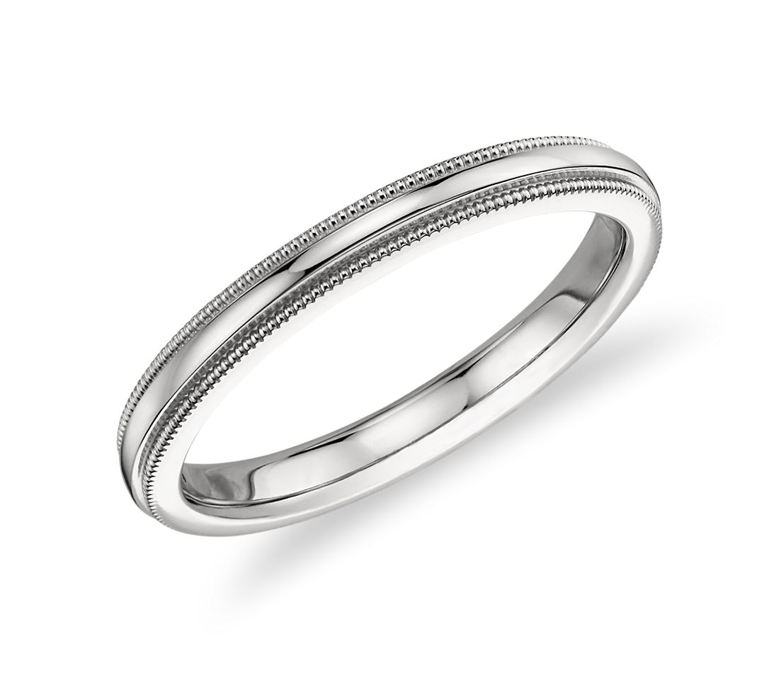Milgrain Comfort Fit Wedding Ring In Platinum Blue Nile
