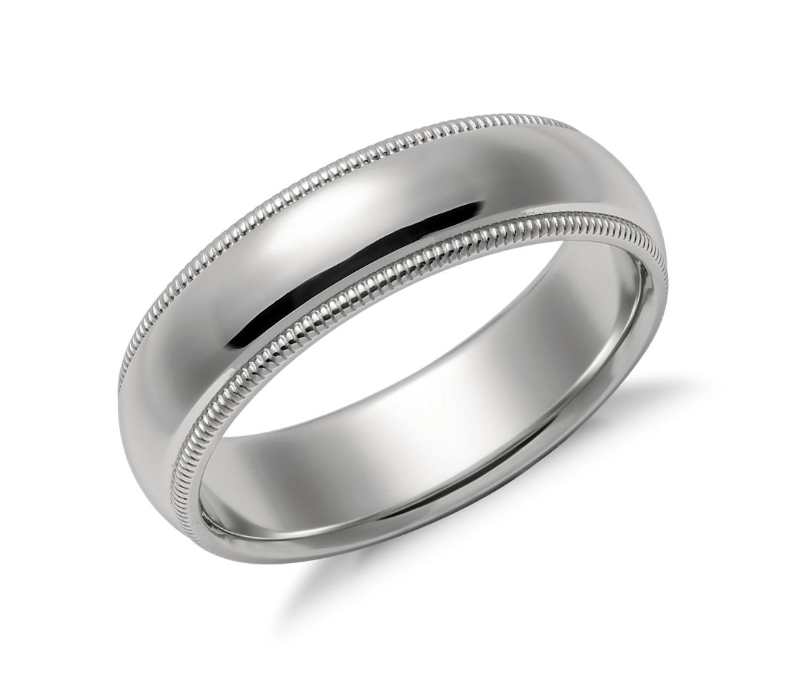 Milgrain Comfort Fit Wedding Ring in Platinum (6mm)