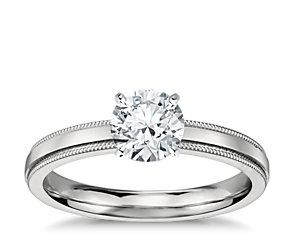 Milgrain Comfort Fit Solitaire Engagement Ring In Platinum 2 5mm Blue Nile