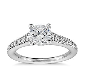 Tapered Milgrain Diamond Engagement Ring in 14k White Gold