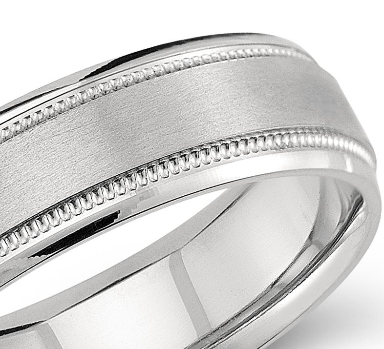 Milgrain Emery Wedding Ring in Palladium (6mm)