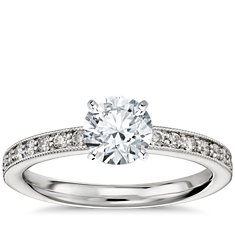 Milgrain Pavé Diamond Engagement Ring in 14k White Gold (1/4 ct. tw.)