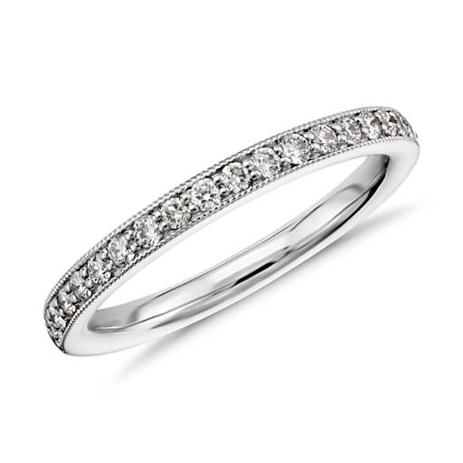 Milgrain Pavé Diamond Ring in 14k White Gold (1/4 ct. tw.)