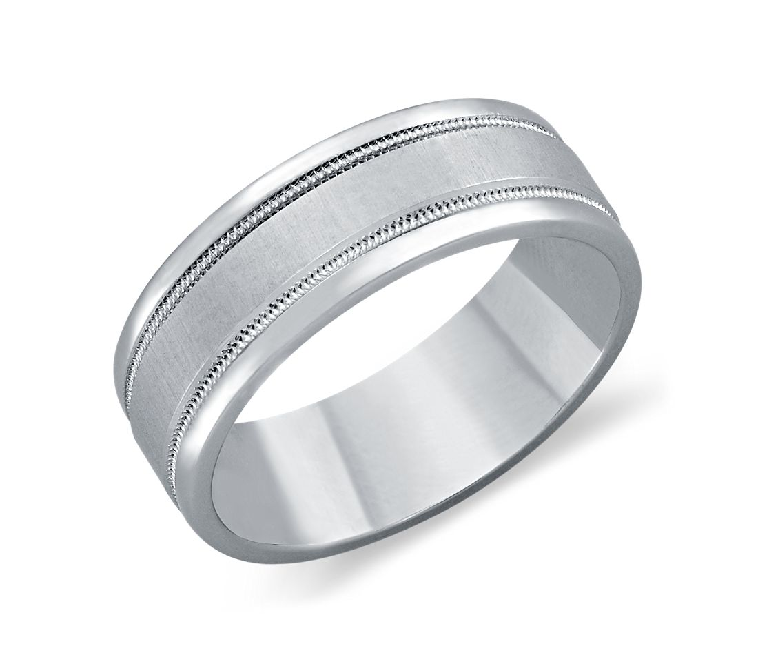 Milgrain Wedding Ring in Platinum (7mm)