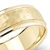 Hammered Milgrain Comfort Fit Wedding Ring in 14k Yellow Gold (7mm)