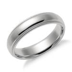 Milgrain Comfort Fit Wedding Ring in Platinum (5mm)