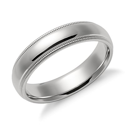 Milgrain Comfort Fit Wedding Ring in Platinum (5mm)