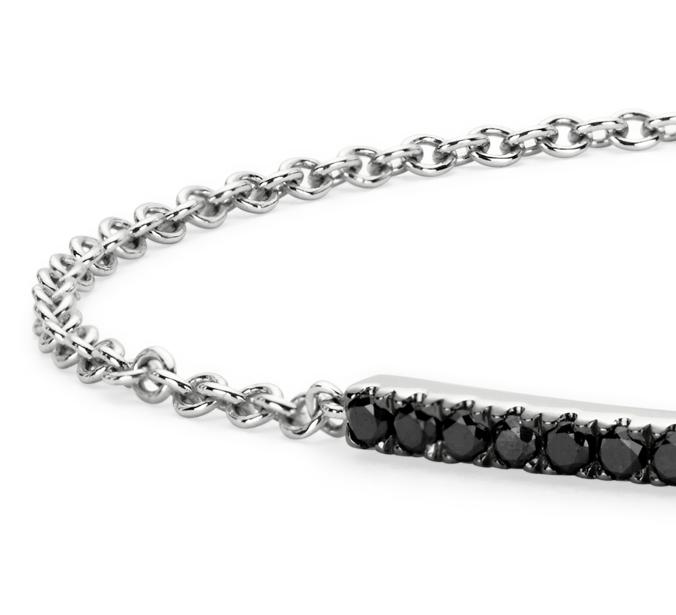 Bracelet en diamant noir serti barette en or blanc 14carats