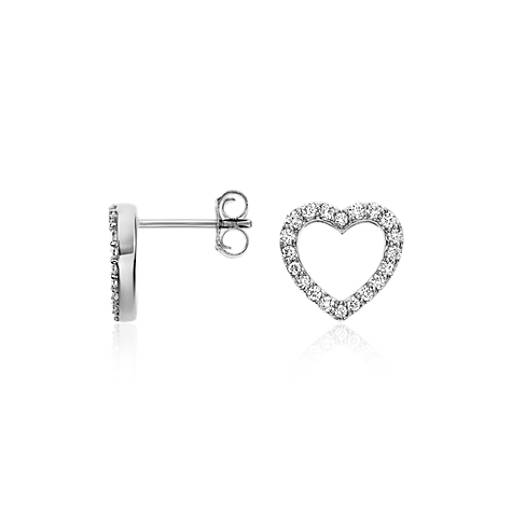Mini Heart Diamond Earrings in 14k White Gold (1/3 ct. tw.)