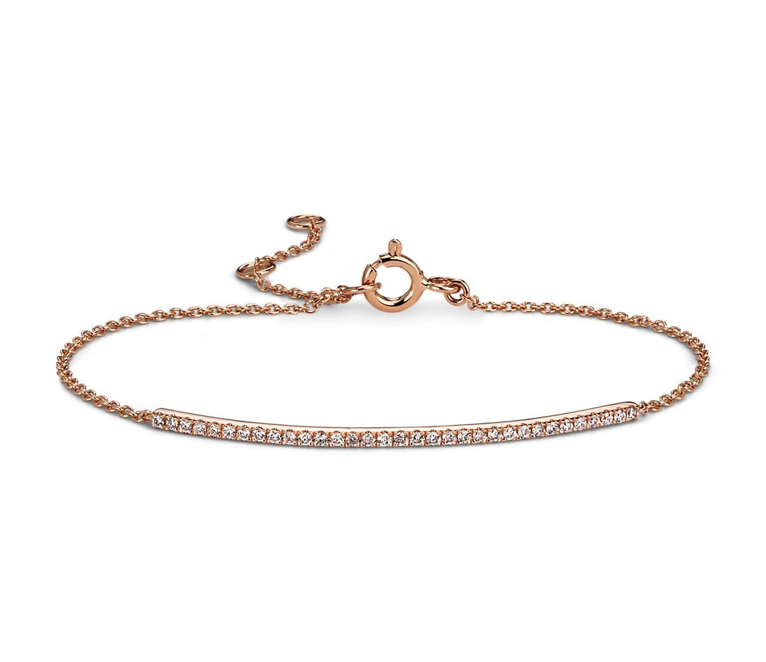 Delicate Diamond Bar Bracelet in 14k Rose Gold (1/5 ct. tw ...