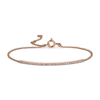 14k 玫瑰金精美钻石长条手链(1/5 克拉总重量)