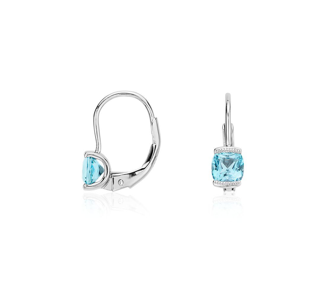 Mini Blue Topaz Drop Earrings in Sterling Silver
