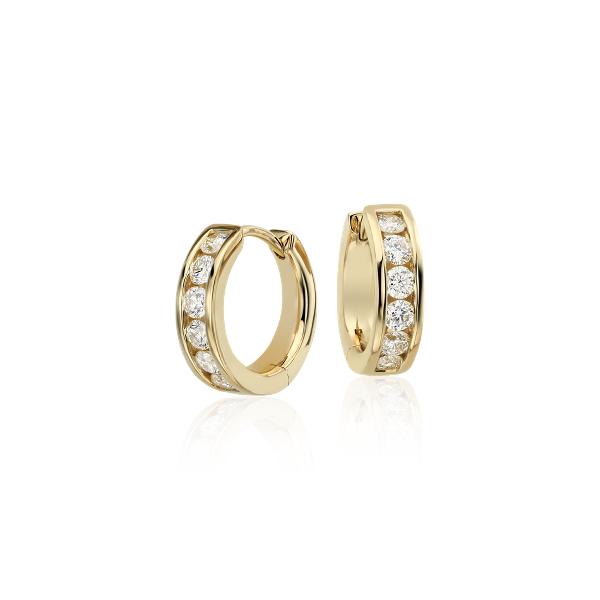 Petites créoles diamant serti barrette en or jaune 14carats (1/2carat, poids total)