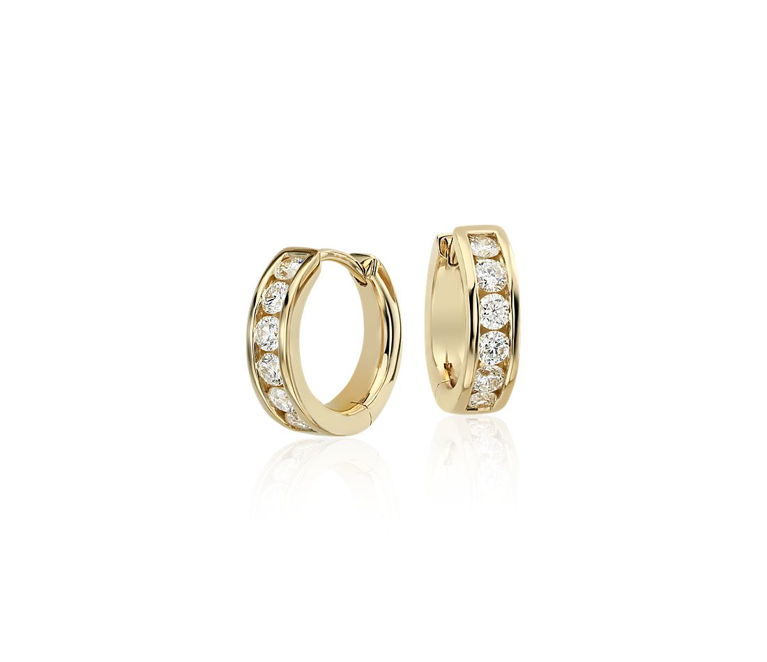 Mini Channel-Set Hoop Earrings in 14k Yellow Gold (1/2 ct. tw.)