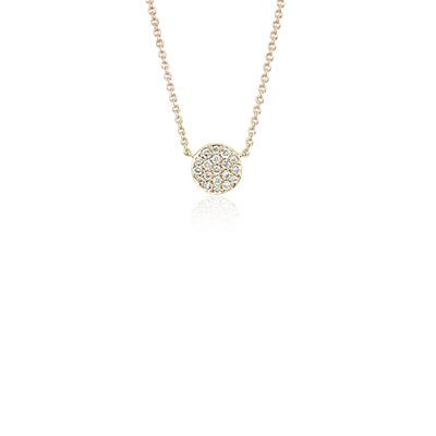 NEW Mini Button Diamond Necklace in 14k Yellow Gold
