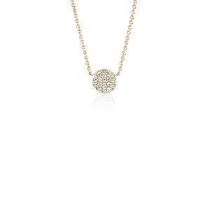 Mini Button Diamond Necklace in 14k Yellow Gold