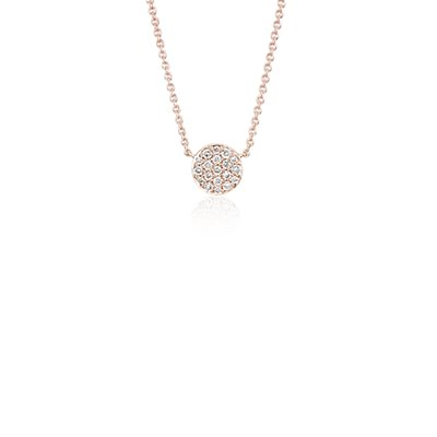 NOUVEAU Collier en diamants mini bouton en or rose 14 carats