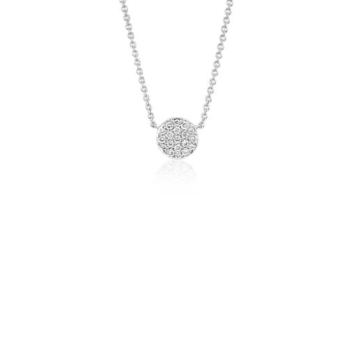 Mini Button Diamond Necklace in 14k White Gold