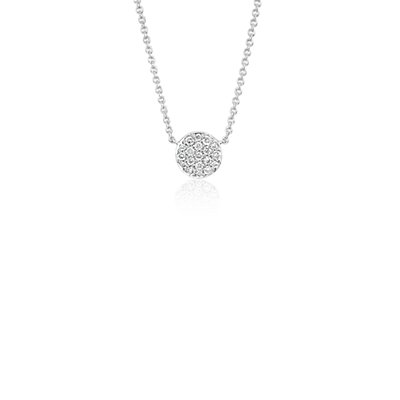 Mini Button Diamond Necklace in 14k White Gold (1/10 ct. tw.)