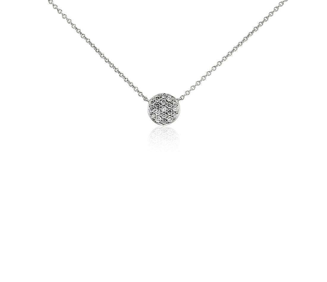 Mini Button Diamond Necklace in 14k White Gold