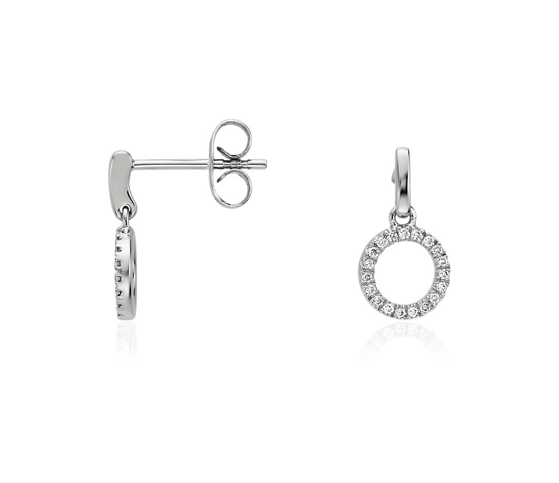 Mini pendants d'oreilles cercles en diamant en or blanc 14 carats