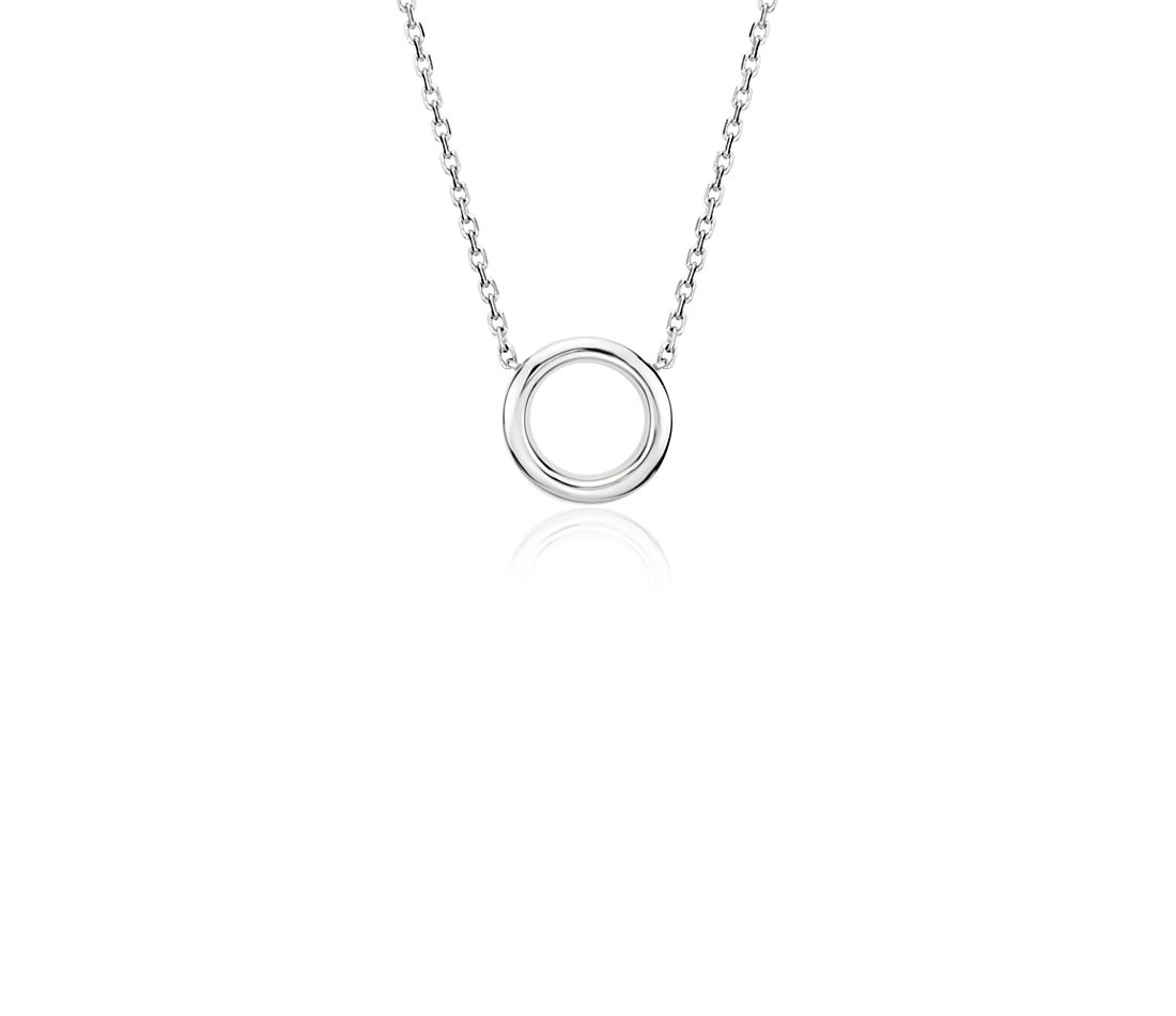 Mini Circle Necklace in Platinum