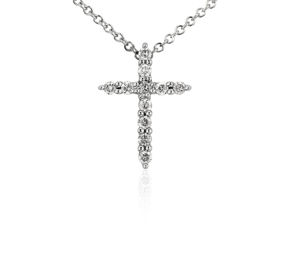Mini Diamond Cross Pendant in 14k White Gold (1/10 ct. tw.)