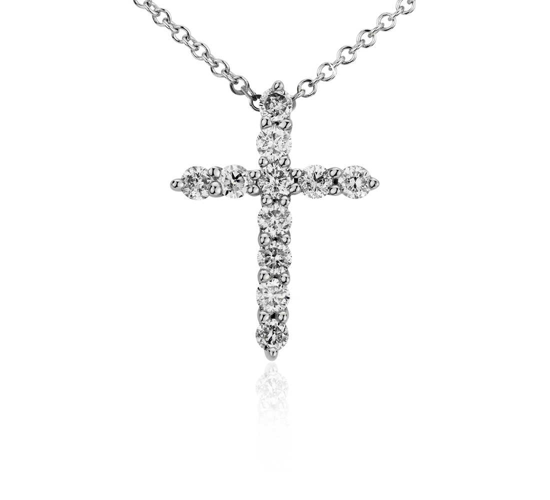 Mini Cross Diamond Pendant in 14k White Gold (1/4 ct. tw.)