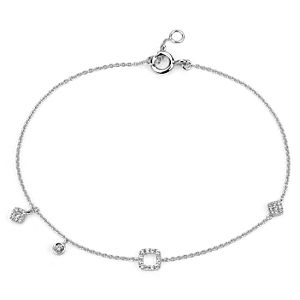 Mini Diamond Asymmetrical Bracelet in 14k White Gold (1/10 ct. tw.)