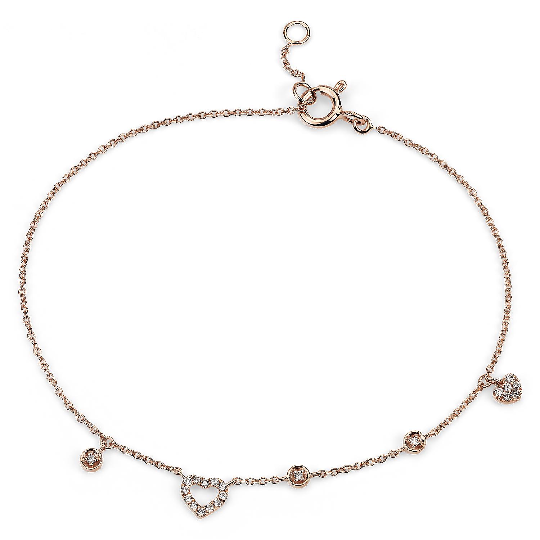Mini Diamond Asymmetrical Heart Bracelet in 14k Rose Gold