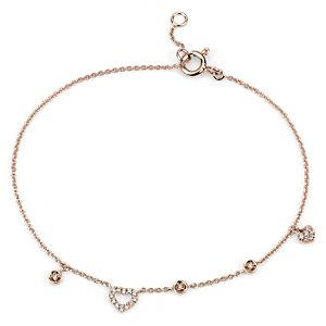 Mini Diamond Asymmetrical Heart Bracelet in 14k Rose Gold (1/10 ct. tw.)