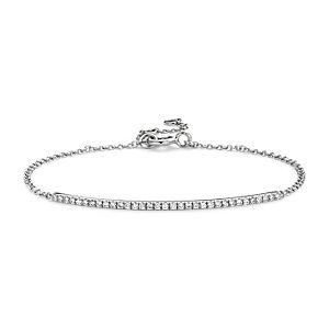 Brazalete con barra de diamantes en oro blanco de 14k (1/5 qt. total)