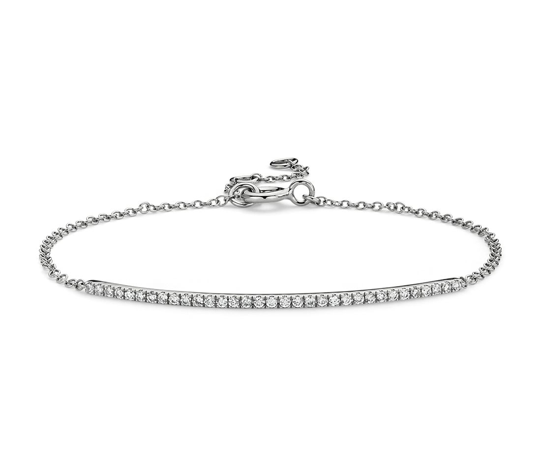 Delicate Diamond Bar Bracelet In 14k White Gold 1 5 Ct