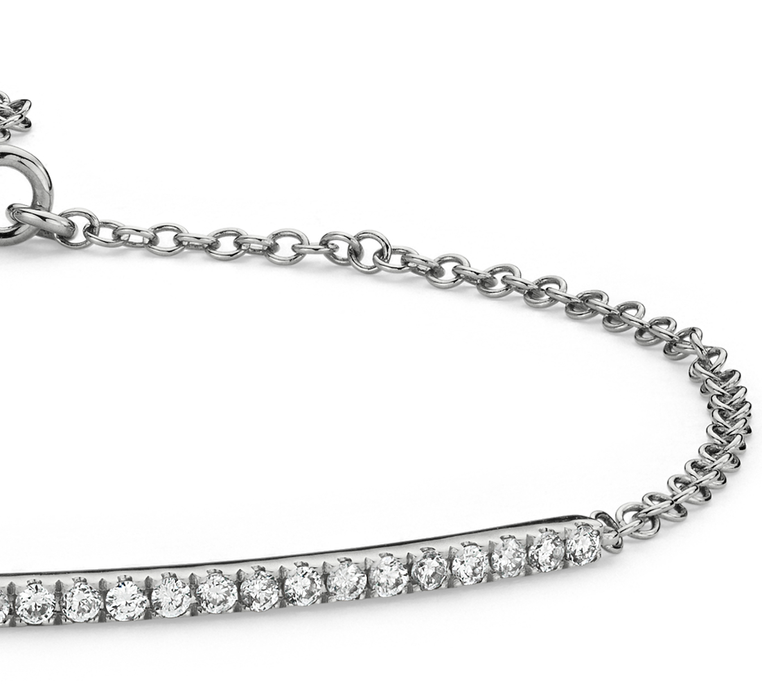 Diamond Bar Bracelet in 14k White Gold (1/5 ct. tw.)
