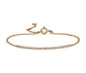 Diamond Bar Bracelet in 14k Yellow Gold