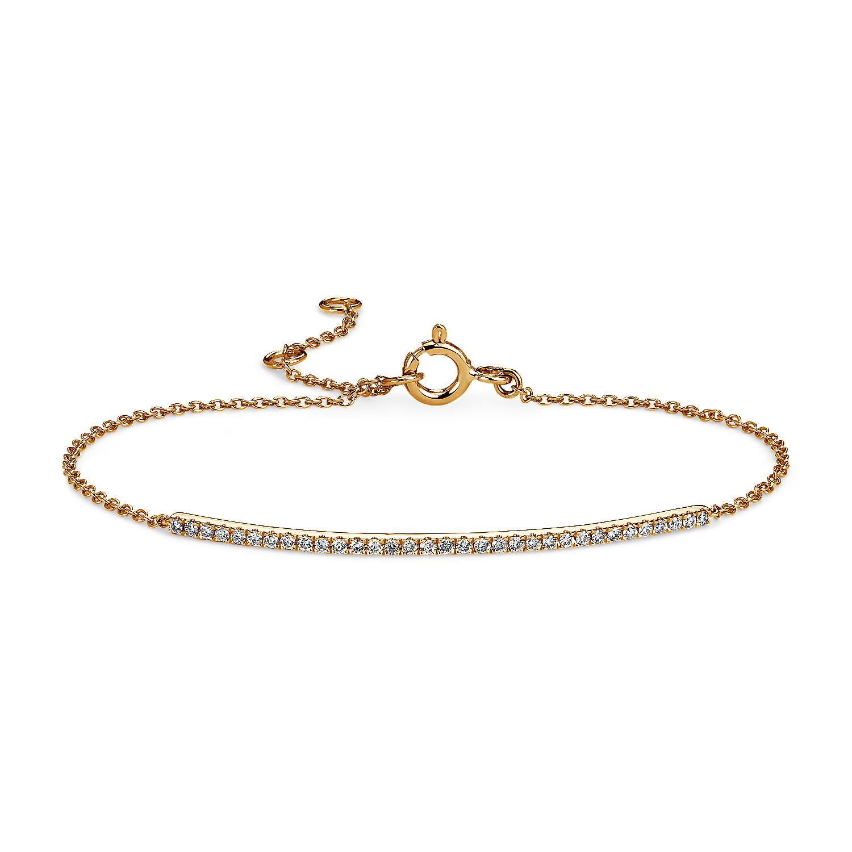 Brazalete con barra de diamantes en oro amarillo de 14k (1/5 qt. total)