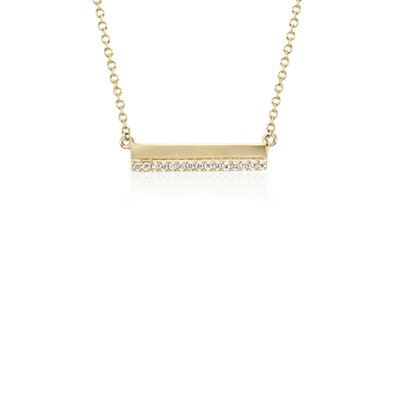 Mini Matte Diamond Bar Necklace in 14k Yellow Gold (1/10 ct. tw.)
