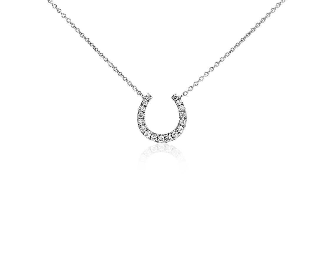 Mini Horseshoe Diamond Necklace in 14k White Gold (1/10 ct. tw.)